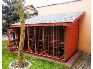 Dog pound with saddle roof
